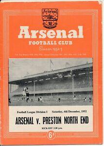 Arsenal v Preston North End 1952/1953 Rare POSTPONED programme 6th December 1952