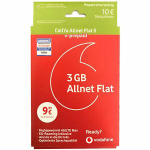 Vodafone Callya ALLNET FLAT S 10€ Guthaben D2 Simkarte 3GB LTE 4G EU-Roaming
