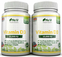 Vitamin D3 10000iu High Strength 10,000iu 730 Soft gel capsule 100% Money Back