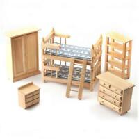 Casa de Muñecas Roble Claro Muebles de Dormitorio Juego con Litera 1:12 Escala
