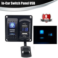 LED On/Off Rocker Switch Panel Dual USB Charger Voltmeter Marine Boat Blue LED