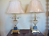 Pair of Two Beautiful Modern Brass & Glass Table Lamps w White Shades