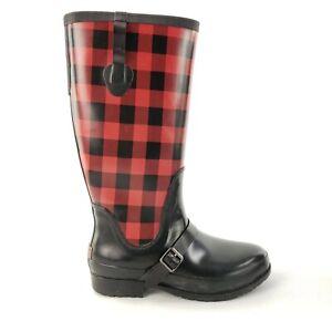 Rare LLBean Wellies Red Black Buffalo Plaid Rain Boots Women's Size 10 M