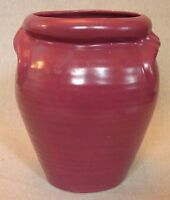8p213 ART POTTERY VASE, DARK RED, unknown maker, 6 inches high