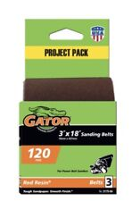 """Gator Power 3"""" x 18"""" Sanding Belt 120 Fine 3 Pack 3x18 Belts Red Resin"""