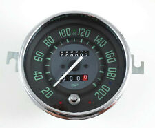 VW BUG BUS GHIA ISP 200 KLM SPEEDOMETER w/TRIP ODOMETER GREEN NUMERICAL FACE