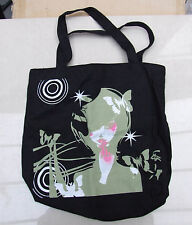 BNWOT A Delightful Black Tote Shopping Bag with Lovely Girly Print FREE Post