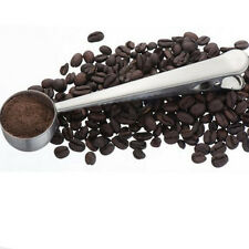 1* Stainless Steel Spoon Sealing Clip Coffee Powder Beans Milk Tea Teaspoon Use
