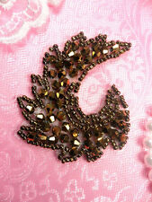 "JB60 Bronze Curl Designer Glass Beaded Applique 3"" Hot Fix Iron on (JB60-bz)"