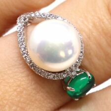 13mm AAA Akoya Pearl Green Emerald Ring Solid 925 Sterling Silver Gift Sizable