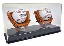 SAF-T-GARD NEW DELUXE DOUBLE BASEBALL DISPLAY CASE w/ Mini Gloves - AD103