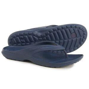 Crocs Mens Iconic Comfort Flip-Flops Sandals Blue/Black/Navy Size 9,10, 11,12,13