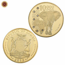 WR 2015 Zambia 10000 Kwacha Elephant Gold Coin African Wildlife Collectible Gift
