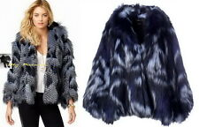 JUICY COUTURE $398 Glamorousl!! Regal Combo Wild Tie Dye Fake Fur Cape Coat  ML