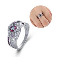 925 silber - ring herz crystal zirkon lila - weißen cz farbige regenbogen topaz