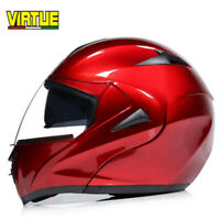 DOT Red Modular Helmet Flip Up Motocross Motorcycle Helmet Full Face Dual Visor