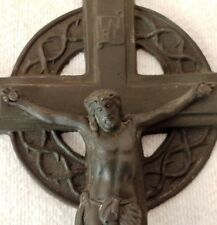 CRUCIFIX Vintage Bronze colored Metal WALL CROSS Jesus Religious Gift Christ