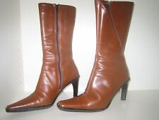 Stivali donna in pelle con tacco colore marrone chiaro, numero 36
