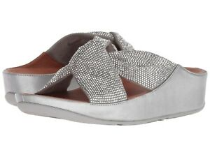 Women's Shoes Fitflop TWISS CRYSTAL SLIDE Arch Support Sandals R44-011 SILVER