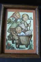 "vtg Hummel Framed Print Wood Picture Frame Two girls & baby in wagon 8"" x 6"""