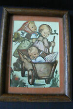 "vtg Hummel Framed Print Wood Picture Frame Two girls & baby in wagon 8"" x 6"""