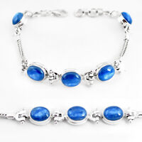 24.03cts Natural Blue Kyanite 925 Sterling Silver Tennis Bracelet Jewelry P54703