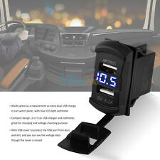 12V 4.2A Dual USB Caricatore Presa Impermeabile Blu LED Voltometro Per Auto EM