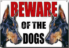 Doberman Beware of The Dogs Metal Sign Security Warning Guard Dog Sign.a3