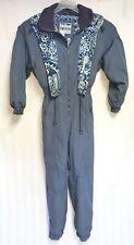Vintage POWDERHORN  Ski One Piece Women's Blue Ski Suit Size 12 Floral Design