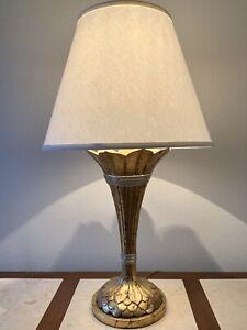 Vintage Gilt Metal Lamp, Florentine, Dramatic Torch, Egyptian, Deco