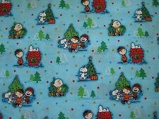 2 Yards - Free Shipping - Snoopy Peanuts Charlie Brown Aqua Christmas Fabric