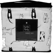 CYNTHIA ROWLEY CATS KITTENS BLACK WHITE GRAY 3 PC. TWIN SHEET SET