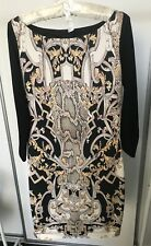 JUST ROBERTO CAVALLI Black Patterned Front Panel Stretch Jersey Dress Size M