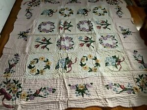 "New Handmade Applique & Embroidery Quilt, Flower Box , Size: 100"" x 91"""