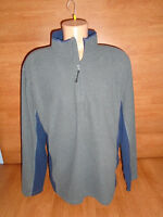 New Mens Size Large L Nordic Track Gray Blue Fleece Shirt Long Sleeve Zip Neck @