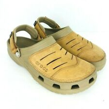Crocs Yukon Slip On Shoes Leather Upper Straps Tan Men Size 11 M Sandals