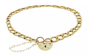 9ct Yellow Gold Heart Padlock Charm Bracelet - 7.5 inch