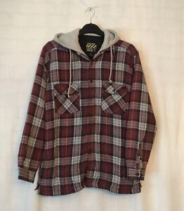 Vintage Big Rock Canyon Rugged Red Flannel Lumberjack Shirt Jacket Hoodie Size L