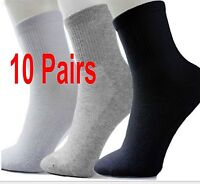 10Pairs Men's Socks Thermal Casual Soft Cotton Sport Sock Gift Black/White/Gray