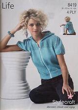 ffa98918e3a267 Stylecraft Knitting Pattern 8419 Hooded Short Sleeve Jacket 4 Ply Ladies  32-42