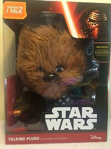 """Disney Star Wars New Plush Talking Chewbacca Doll 15"""" Character Movie Sounds"""