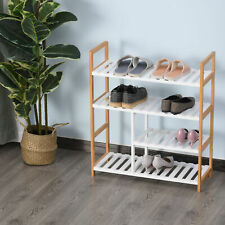 4-Tier Shoe Rack Simple Home Storage w/ Wood Frame Boot Compartment Home Hallway