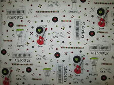 RETRO RECORDS GUITARS KEYBOARD DRUMS MUSIC COTTON FABRIC FQ
