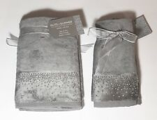 NEW GLITZ+GLIMMER 4 PC SET GRAY,CRYSTALS 2 HAND TOWELS+2 FINGER TIP FROM TURKEY