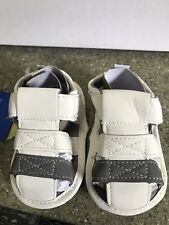 New Adorable Baby Boy Soft Shoes , White/ Gray Size 2
