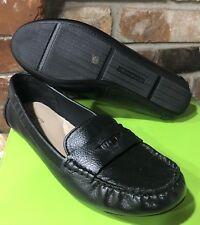 LIZ CLAIBORNE FLEX BLACK LEATHER Moc Toe Penny LOAFERS size 10