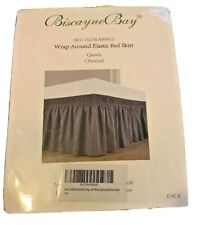 Biscayne Bay Wrap Around Elastic Bed Skirt Queen Charcoal New In Package!
