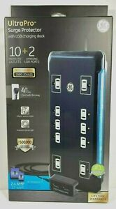 GE UltraPro 10 Outlet Surge Protector With 2 USB Tether 4 Ft Long Cord 2880 Jo