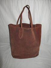 Vintage Camel Tan Rugged Suede Leather Tote Shopper Weekender Boat Bag Nice!