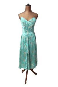 Vintage 50s Party Prom Cocktail Dress Retro Elegant Satin Floral Strapless UK 8
